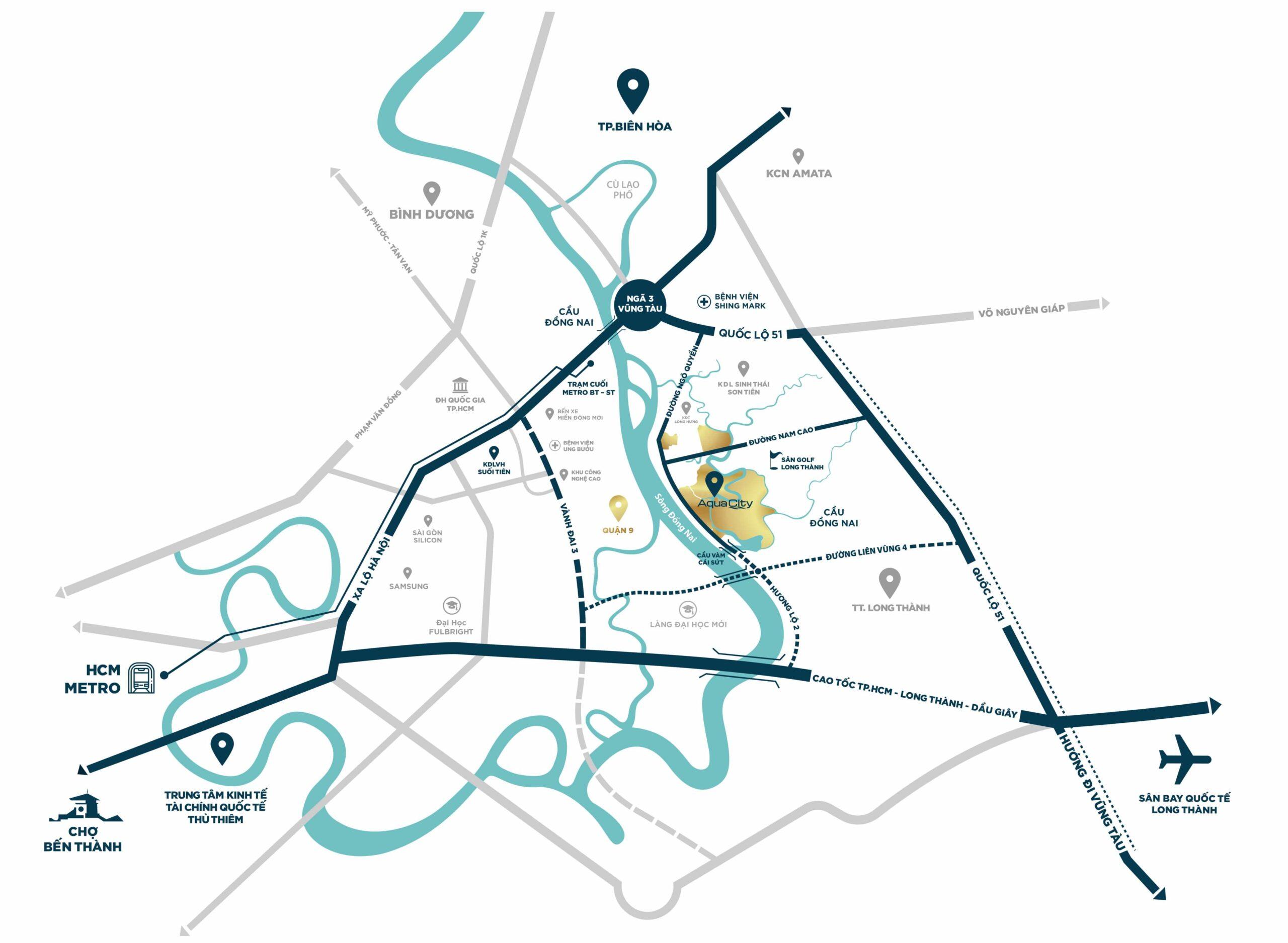 Vị trí dự án Aqua City Đồng Nai Biên Hòa