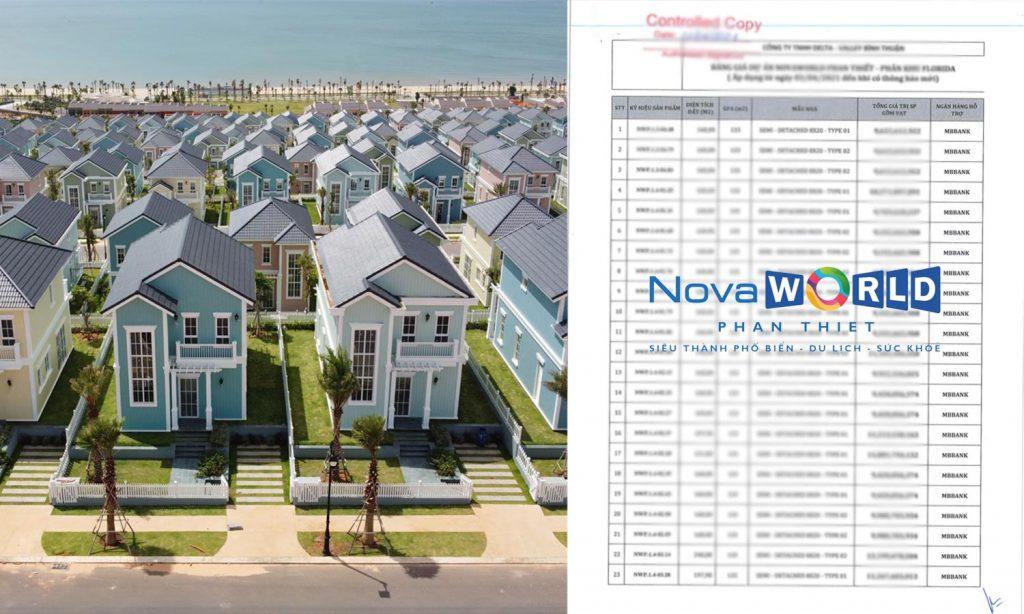 Giá bán NovaWorld Phan Thiết Novaland - Bảng Giá
