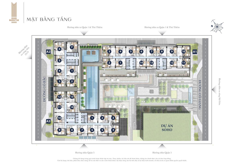 Mặt bằng tầng căn hộ The Grand Manhattan Novaland Quận 1