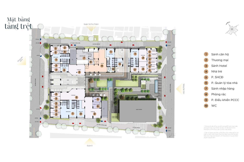 Mặt bằng tầng trệt căn hộ The Grand Manhattan Novaland Quận 1