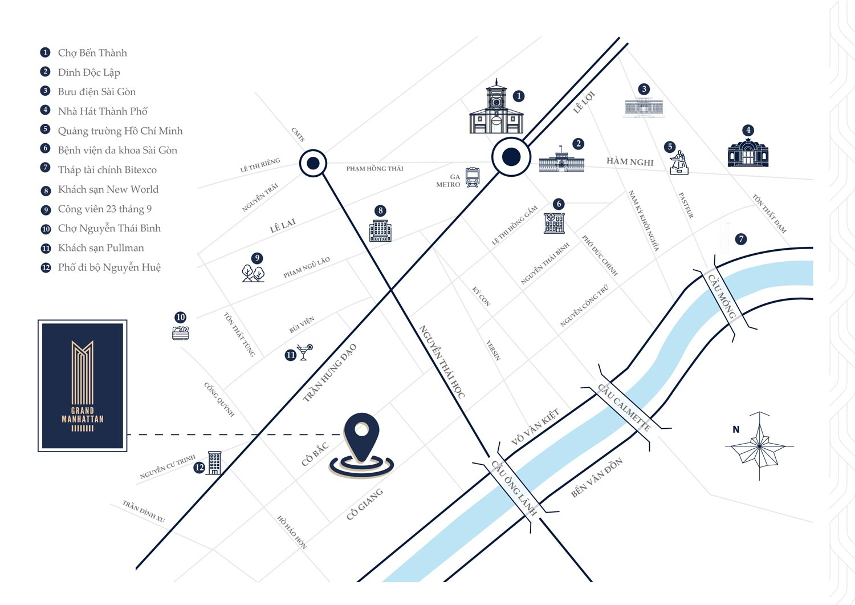 Vị trí The Grand Manhattan Novaland - Căn hộ chung cư Quận 1